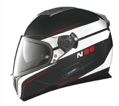 Nolan N-86 Rapid N-Com Helmet , Distinct Name: Metallic Flat Black/White, Gender: Mens/Unisex, Helmet Category: Street, Helmet Type: Full-face Helmets, Primary Color: Black, Size: XL N8R5273330256