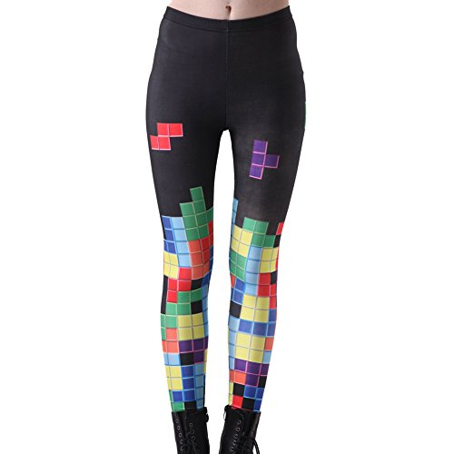 High Waist Tetris Video Game Leggings for Women.  XS to XXL