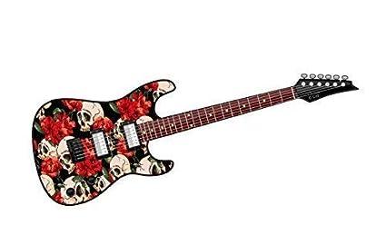 COOL diseño de guitarra eléctrica con gótico de calavera y Classic Rojo Diseño de rosa vinilo