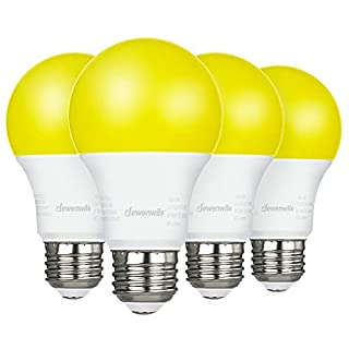 DEWENWILS 4 Pack LED Bug Light Bulbs Outdoor, A19 Yellow Light Bulb, 9W(60W Equivalent), 600LM, 2400K Amber Glow, Non-Dimmable, E26 Medium Screw Base, UL Listed