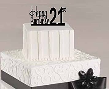 CakeSupplyShop ItemAE 124 Happy 21st Birthday Agemilestone Elegant