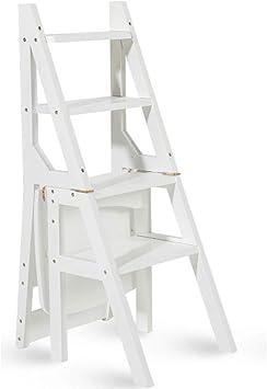 Geyao Escalera multifunción Taburete Hogar Madera maciza IKEA Niños Silla plegable Provincia Espacio Escalera de cuatro pasos de doble uso Escalera ascendente 40 × 46 × 90 cm (Color : White): Amazon.es: Bricolaje y herramientas