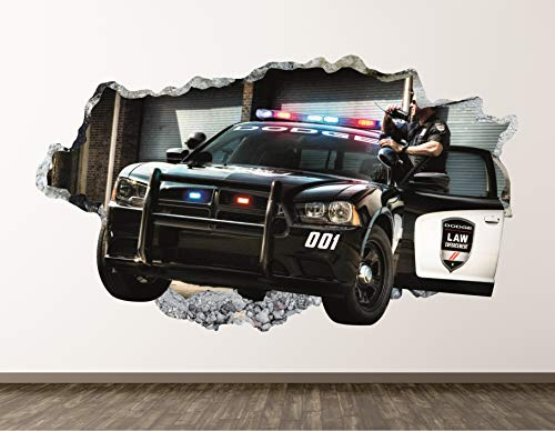 """Police Car Wall Decal Art Decor Patrol 3D Smashed Sticker Mural Kids Room Gift Large BL04 (70"""" W x 40"""" H)"""