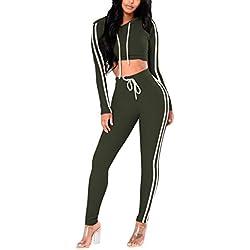 Pink Queen Womens Long Sleeve Side Stripe Crop Top + Capris 2 Piece Bodycon Set
