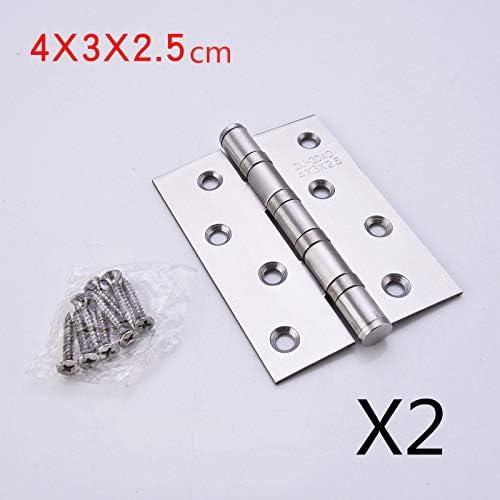 2pcs//lot Stainless Steel Flat Hinge Hinge Mute Bearing 4 inch Hinge Door Folding Interior Door Hardware Accessories Hinge Color: 4X3X3