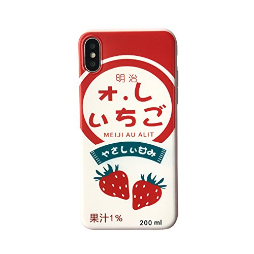 Soft TPU Red Strawberry Milk Case for iPhone X Ultra Slim Thin Sleek White Cream Fresh Japan Japanese Girls Kids Teens Skidproof Cute Lovely Gift Slim Thin - Phone Strawberry Case Cell