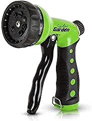 Signature Garden Heavy-Duty Nozzle, Comfort-Grip 8 Different Spray Patterns for Watering Lawns, Washing Cars &