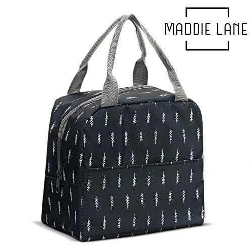 Lunch Bag for Women by Maddie Lane Bags - Waterproof & BPA Free –Keeps Food Cool & Hot For Longer - Side Pocket For Storage (Dark Blue Leaves)