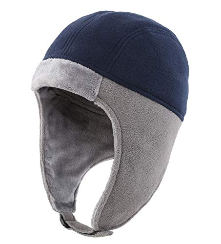 759d10c2238e53 Connectyle Mens Fleece Thermal Skull Cap Warm Winter Beanie with Earflap  Outdoor Cycling Sports Hat Navy
