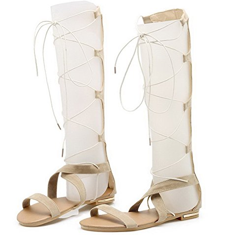 Lace up Frosted Sandals Open Low Beige Heels Toe VogueZone009 Solid Women wqYEzaWnXx