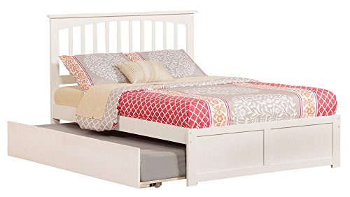 Atlantic Furniture AR8732012 Mission Platform Bed with Twin Size Urban Trundle, Full, White