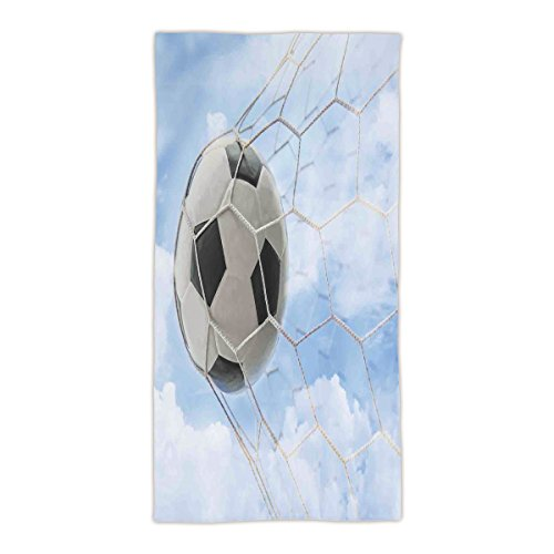 31.49'' W x 62.99''L Cotton Microfiber Bath/Hand Towel,Sports Decor,Soccer Ball in Goal with Cloudy Sky Summertime Outdoor Activities Sporting,Ultra Soft,For Hotel Spa Beach Pool Bath by idouxi