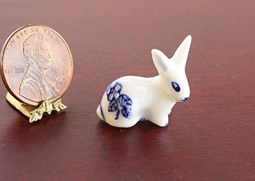 Dollhouse Miniature Blue & White Porcelain Rabbit or Bunny (Porcelain Bunny Doll)