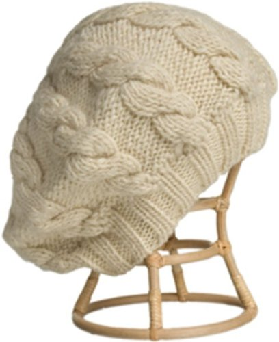 Nirvanna Designs CH208 Cable Beret with Fleece, White