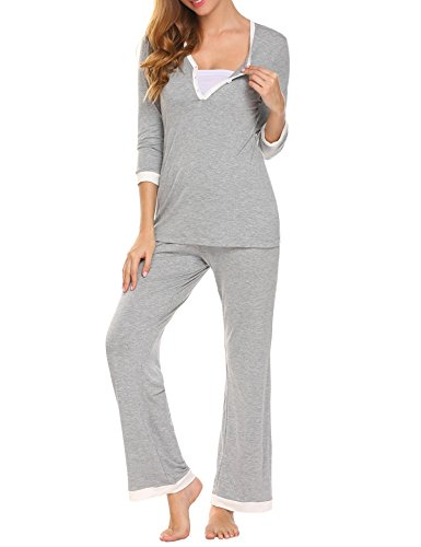 MAXMODA Women's Soft Long Sleeve Maternity and Nursing Sleepwear Pajamas Set Breastfeeding Nightgown Set S-XXL