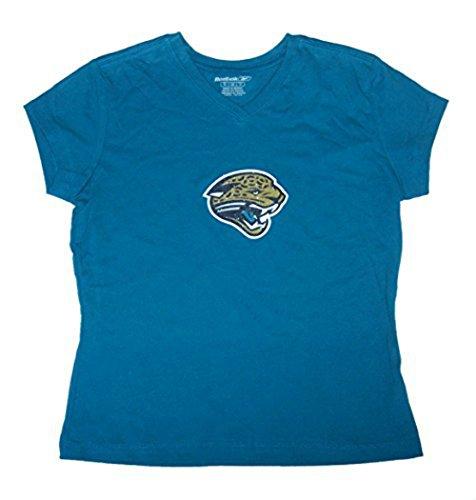 (Jacksonville Jaguars Women's Small V-Neck Cap Sleeve Glitter Logo Shirt - Ladies Teal)