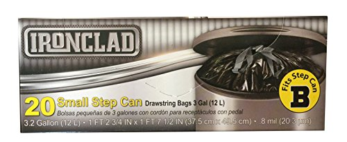 Ironclad 12L Drawstring Small Step Can Trash Bag Liner (3.2 Gal / 12 L) Size B, 20 Count from Ironclad