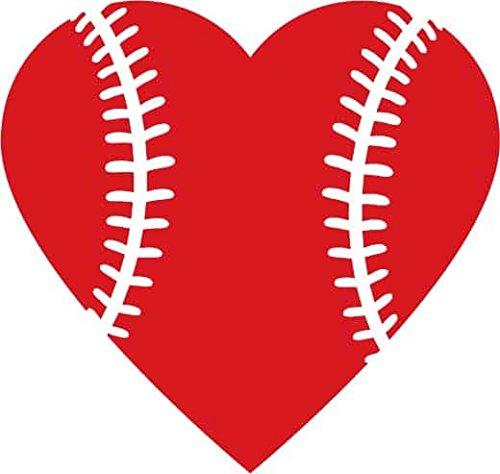 Heart Baseball Love Vinyl Decal Sticker|Cars Trucks Vans Walls Laptops Cups|Red|5.5 (Tigers Classic Baseball)
