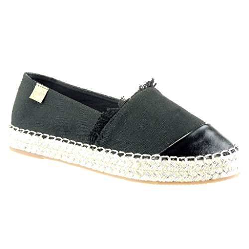 Angkorly Women's Fashion Shoes Espadrilles - Bi Material - Slip-on - Shiny - Fringe Flat Heel 2.5 cm Black