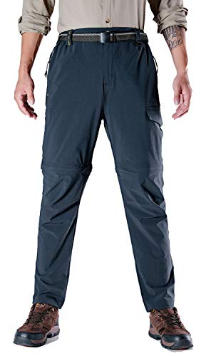 (TBMPOY Men's Outdoor Convertible Quick Dry Belted Hiking Pants Zipper Pockets(Black-Blue,us M))