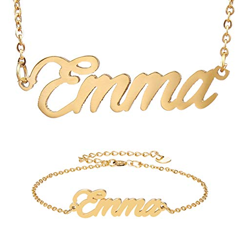 - HUAN XUN Best Bridesmaid Gifts Emma Name Necklace&Bracelet Initial Jewelry Set