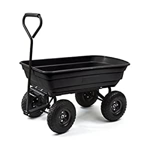 ALEKO TC4235 Heavy Duty Black Garden Dump Cart Wagon Carrier Wheel Barrow Air Tires With Padded Pull Handle