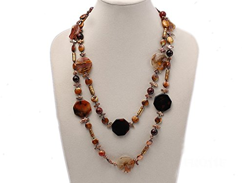 JYX 12-20mm Yellow Coin Pearl and Biwa Pearl and Irregular Pearl and Agate Necklace