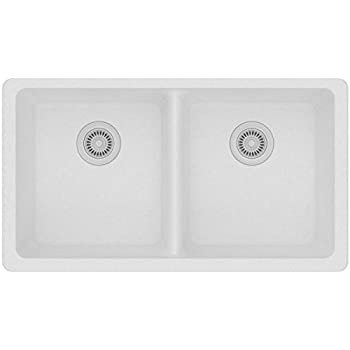 Elkay Quartz Classic ELGU3322WH0 White Equal Double Bowl Undermount Sink