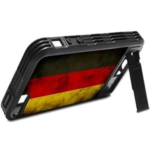 Virano 'banderas Alemania 2, Negro Design silicona rígida carcasa funda case cover con stand para iPhone 55S.