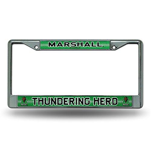 (NCAA Marshall Thundering Herd Bling Chrome License Plate Frame with Glitter)