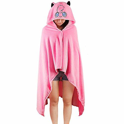TOMORI Anime Hoodie Cosplay Cloak Flannel Blanket Cartoon Cape Coat Shawl (Jigglypuff)]()