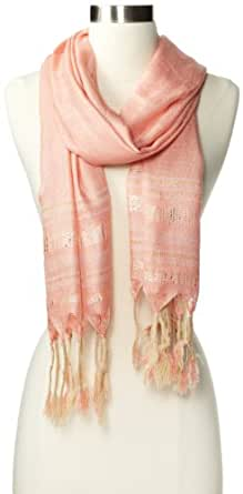 Vince Camuto Women's Wrapped Fringe Scarf, Peach Nectar, One Size
