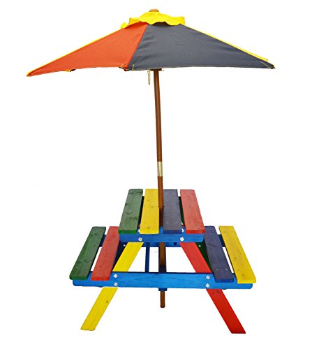 Home and Garden Rainbow Kids Picnic Table Set with Umbrella