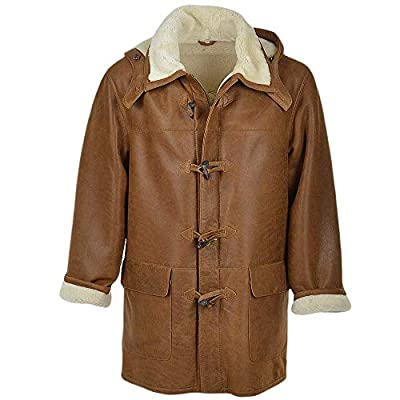 Men's Hooded Toggle Wooden Button Brown Real Leather Trench Long Duffle Coat
