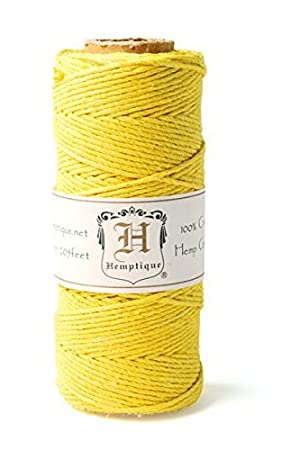 Hemptique HS20-YEL Hemp 20-Pound Cord Spool, Yellow, 205-Feet