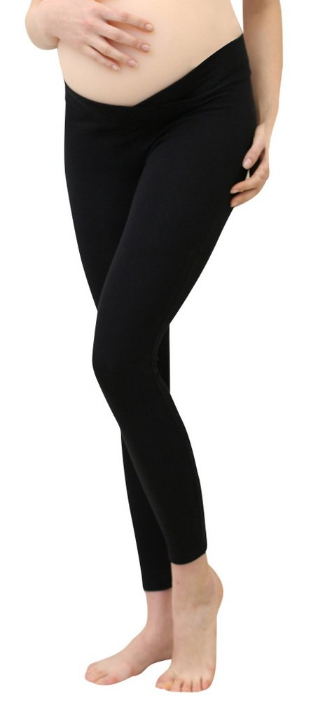 Foucome Women's Maternity Legging Under The Belly Super Soft Support Seamless Elastic Pants Black
