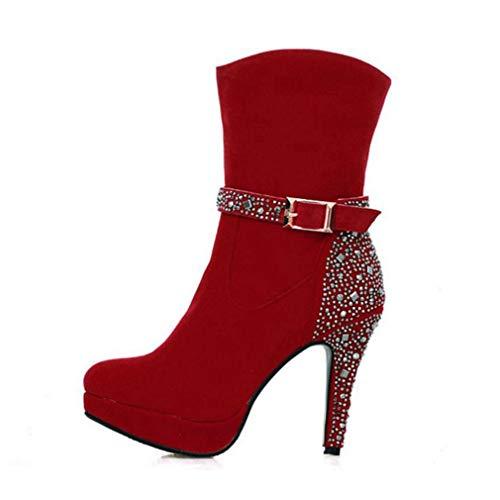 Stiletto Heel Mid Calf Boot Slip On Zip Buckle Party Wedding Round Toe Dress Boot ()