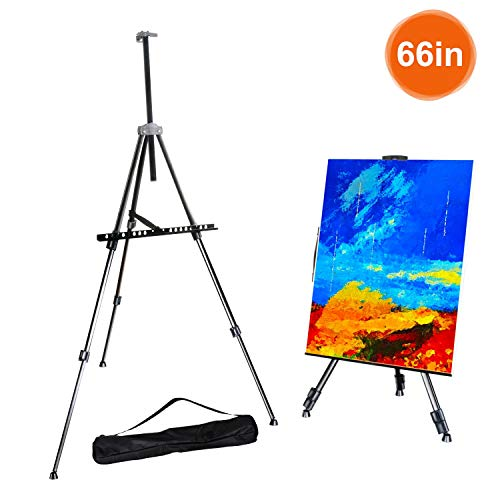 """FUDESY Easel Stand,66"""" Aluminum Metal Display Easel Artist Easel Tripod with Portable Bag Adjustable Height from 21"""" to 66"""" for Table-Top/Floor Painting,Displaying,Drawing from FUDESY"""