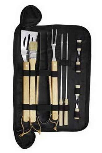 Mikash Utensil Set 10 Piece w/Carry Bag Stainlees Steel Wood Handles   Model GRLLST - 93 -
