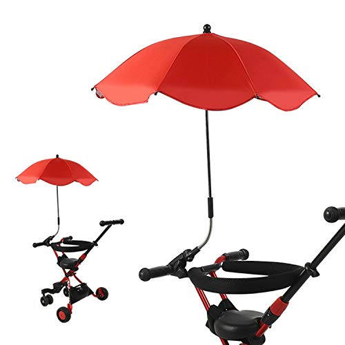 Children's Clip-on Universal Stroller Umbrella UV Protection rain Umbrella and Universal Clip (Multi-Color Optional),Red