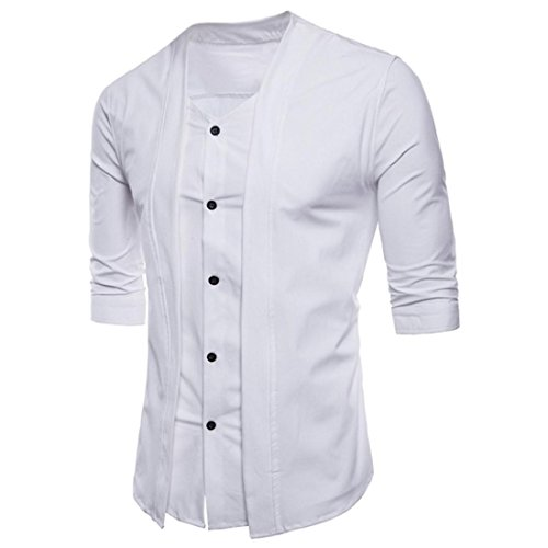 Men's Classic Long Sleeve Oxford Shirt Formal Casual Slim Fit Dress Shirts Tops (S, White) by GONKOMA Mens Shirts