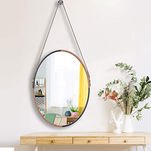 """Nugorise Oval Wall Mirror, Modern Leather Framed Mirror, Hanging Decorative Vanity Mirror for Bedroom, Bathroom & Living Room, 17.7"""" x 23.6"""", Coffee and Brown"""