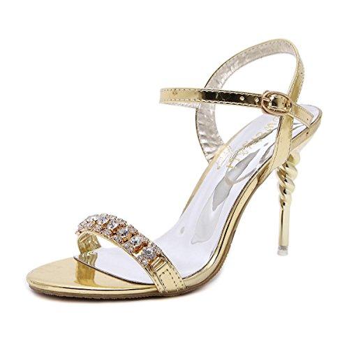 YEEY Verano tacones de tacón alto sandalias de Novia de la boda del tobillo de punta abierta zapatos de fiesta del Club Gold
