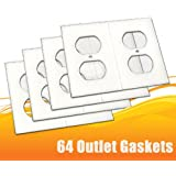 64 Pack Electrical Outlet Gasket Covers, Draft Stopper Foam Insulator Gaskets