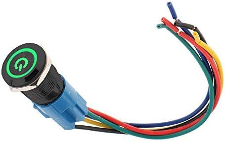Supmico Black Case 16mm Green Power Symbol LED Light Lamp 12V Push Button Metal Toggle Switch Socket Plug Wire Car
