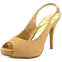 Thalia Sodi Camiil Peep-Toe Leather Slingback Heel