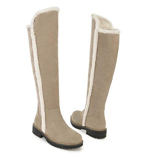 Women Zipper 6 KemeKiss Lined Boots Warm Beige wdPqEP
