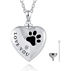 FREECO 925 Sterling Silver Cremation Memorial Jewelry Drop Urn Necklace for Ashes for Women (Heart Urn Necklace for Pet)