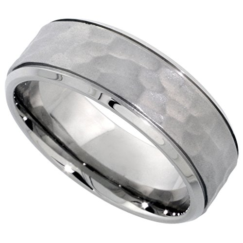 Surgical Stainless Hammered Wedding Comfort Fit