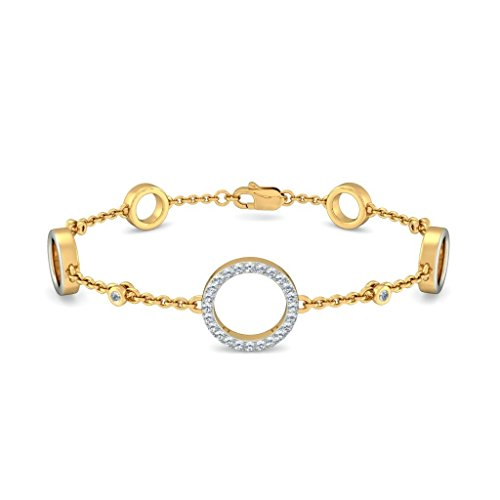 Or jaune 18 K, 0.392 CT TW Round-cut-diamond (Ij| SI) Identification-bracelets